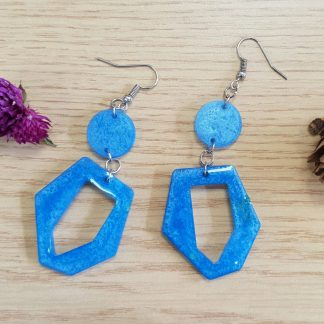 Blue geometic dangle drop earrings handmade with epoxy resin by The Pea Hive