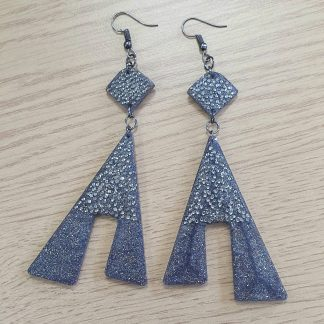 Handmade charcoal grey black glitter sparkle earrings with Swarovski crystals
