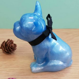 A French Bulldog cast from blue epoxy resin which makes the perfect item for any dog lover