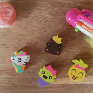 This set of 4 Small Eraser Rubbers from The Pea Hive will brighten up youir stationery collection