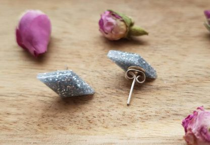 Silver sparkle earrings handmade from epoxy resin by The Pea Hive