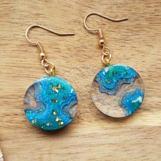 Set of turquoise mermaid bubble earrings handmade from epoxy resin by The Pea Hive