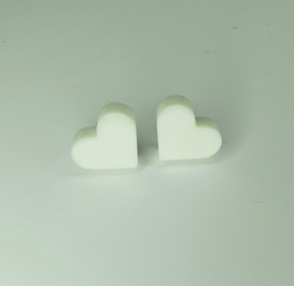 Beautiful White Heart Shaped Stud Earrings handmade from casting resin by The Pea Hive