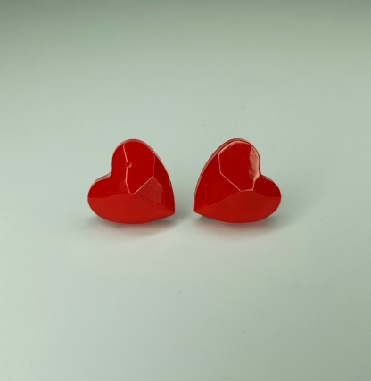 Red Geometric Heart Shaped earrings handmade from casting resin by The Pea Hive